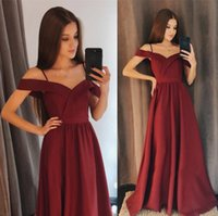 Wholesale party dresses for juniors for sale - Charming A Line Chiffon Bridesmaid Dresses A Line Off The Shoulder Burgundy Floor Length Party Gowns For Girls Junior Prom Evening Gowns
