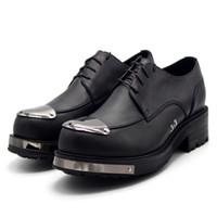 zapatos derby hechos a mano al por mayor-Zapatos hechos a mano zapatos de cuero para hombres Viajar por Estados Unidos y Occidente zapatos de hombre hechos a mano con derby natural grueso