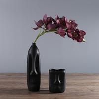 ingrosso testa astratta-2019 Nordic Minimalist Ceramic Abstract Vase Bianco e nero Human Face Creative Display Room Decorativo Figue Head Shape Vase