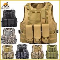 Wholesale hunting vest cotton resale online - USMC Airsoft Tactical Vest Molle Combat Assault Plate Carrier Tactical Vest Colors CS Outdoor Clothing Hunting Vest
