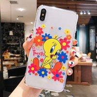 ingrosso cassa sveglia del telefono dei fiori-Cute Cartoon fiore giallo anatra custodie per iPhone XS Max XR XS X 6 6 S 7 8 più TPU trasparente copertura posteriore del telefono regalo
