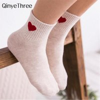 Wholesale girls love socks resale online - 2018Casual Pretty Heart Love Socks Cute Comfortable Sock Girl Female Women Winter Summer Fall Sporting Leisure Pure Cotton Meias