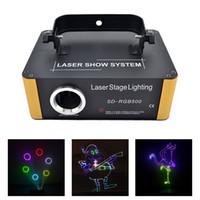 iluminação de pequeno estágio venda por atacado-AUCD 500mW RGB Laser Pequeno Programa de Cartão SD DMX Animação Projetor Iluminação Cénica PRO DJ Show Scanner Luz SD-RGB500