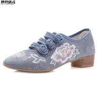 женщины плоские ботинки оптовых-New Spring Ladies Mary Jane Shoes Pointed Toe Floral Embroidery Cotton Fabric Woman Flats Comfort Breath Square Heel Women Shoes