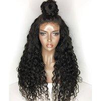 peluca americana africana sin cola ola al por mayor-Glueless Lace Front Virgin Pelucas de cabello humano Pre-Plucked Full Lace Wigs Deep Wave 10-26 pulgadas Pelucas afroamericanas