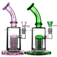 Wholesale colorful oil resale online - Heavy glass bong water pipe tree arms perc mm tube colorful bongs oil dab rig rigs heady glass pipes bubbler pink blue green