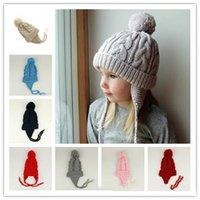 ingrosso disegni di inverno del neonato-Nuovo design per bambini berretto in lana berretto a trecce berretto a maglia tinta unita cappello bambina moda inverno caldo berretto LA67