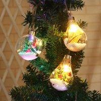 lampe suspension à billes achat en gros de-Pendentif de noël boule solaire lumière ampoule de fil de cuivre suspension suspension arbre de noël décoration jardin pendentif