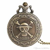 relógio de bolso de uma peça venda por atacado-Japão dos homens Dos Desenhos Animados Anime One Piece Relógio de Bolso Moda Colar de Pingente de Cadeia Steampunk Do Vintage Fob Relógio Lembrança Presentes para Homens Wome