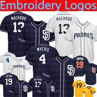 тони гвинн бейсбол оптовых-13 Manny Machado Padres Jerseys 4 Wil Meyers 19 Tony Gwynn бейсбольные Майки вышивка логотипы 50-й патч Mens9889