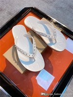 Wholesale flip flop nails for sale - Group buy New high end boutique mens slippers Imported fabric with nail decoration light rubber flat toe flip flops With complete packaging