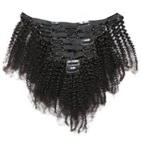 Wholesale clipped hair extensions resale online - Virgin Brazilian Human Hair Afro Kinky Curly Clip In Hair Extensions Inch Natural Color For Black Women