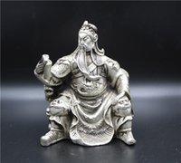 guan yu estátua venda por atacado-Chinese Tibet prata Handwork estátua de Guan Yu