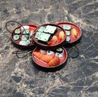 jóias universais venda por atacado-4 pcs / set estilo japonês Cell Phone Straps Simulação Rodada almoço chaveiro Box Sushi Box Modelo Bolsa Celular Jóias Encantos