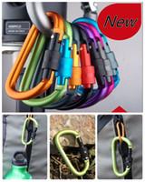 наружные алюминиевые пряжки оптовых-8 см алюминиевый сплав карабин D-образное кольцо брелок клип многоцветный кемпинг брелок крюк открытый висит алюминиевая пряжка