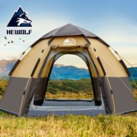 Wholesale new family tents resale online - Hewolf New Outdoors People Automatic Family Tent Big Space Beach Tent Thickened Rainproof Camping