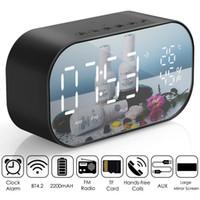 bluetooth radyo alarmı toptan satış-LED Çalar Saat FM Radyo ile Kablosuz Bluetooth Hoparlör Ayna Ekran Desteği Aux TF USB Müzik Çalar Kablosuz Ofis Ev için