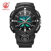 grande borracha preta venda por atacado-OHSEN Grande Mostrador do Cronômetro de Borracha Preta LED 3D Esportes Do Exército Relógios de Quartzo dos homens Relógio Digital Homens Relógio de Pulso À Prova D 'Água relógio