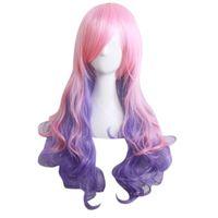 isıya dayanıklı sentetik kıvırcık peruklar toptan satış-Doğal Renkli Karışık renk peruk Uzun Düz Kadınlar Için Sentetik Sapıkça Kıvırcık Peruk Tam Peruk Isı Dostu Dalgalı Cosplay Saç
