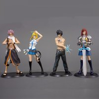 acción de cola de hada al por mayor-2 unids / lote Fairs Tail Natsu Elza Erza Grey Sexy Girl Model Doll PVC 13 cm Juego Figurine Anime Figura de acción 170913