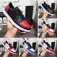 düşük erkekler basketbol ayakkabıları toptan satış-Kutu ile sıcak yeni ÜST kalite 1 OG X beyaz mens düşük basketbol ayakkabı 1 s Chicago siyah sneakers kırmızı UNC mavi erkekler rahat ayakkabılar 101107