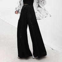 koreanische kleidung für schwarze frauen großhandel-2019 sommer Schwarz Breite Beinhosen Für Frauen Hohe Taille Reißverschlüsse Große Größe Hose Weibliche Mode Kleidung Korean
