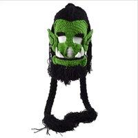 homem de presente de aniversário artesanal venda por atacado-2017 Novidade dos homens Bonecas Feitas À Mão Crochet Inverno Quente Chapéus Game Thrall Máscaras Engraçado Halloween Xmas Birthday Party Presente