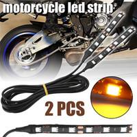 Wholesale led strip lighting for motorcycles resale online - 2PCS SET Amber LED Motorcycle Turn Signal Strip Light for V Motorbike Indicator License Plate Blinkers Light Strips Bar