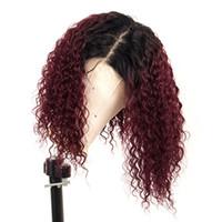 siyah kırmızı ombre saç toptan satış-Ombre 99J Kırmızı Kıvırcık Dantel Ön İnsan Saç Peruk Bebek Saç Ile Preplucked Siyah Kadınlar Için Brezilyalı 13X6 Dantel Ön Peruk