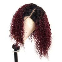 Wholesale lace wig human burgundy resale online - Ombre J Red Curly Lace Front Human Hair Wig With Baby Hair Preplucked Brazilian X6 Lace Front Wig For Black Women