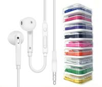 auscultadores microfone remoto venda por atacado-3.5mm de ouvido fone de ouvido fone de ouvido controle de fone de ouvido com microfone e volume remoto para iphone x 8 plus samsung s6 s7 com pacote de varejo