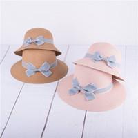 Wholesale girls wide brimmed hats resale online - Baby Breathable Straw Hat Summer Bow Sunscreen Cap folding kids Girl Bowknot bucket Straw Hat Wide Brim Hats LJJA2491