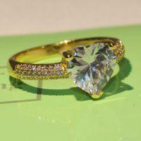 anillos de topacio amarillo oro blanco al por mayor-2018 anillo de promesa de nueva llegada para las mujeres joyería espumosa 925 plata esterlina amarillo dorado lleno de topacio blanco CZ anillo del anillo femenino regalo