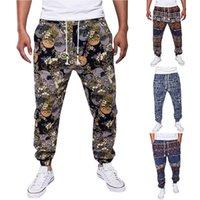 erkekler için keten modası toptan satış-Erkekler Baskılı Keten Pantolon Sonbahar Streetwear Joggers Pantolon Moda İpli Hip Hop Gevşek Harem Pantolon Erkek Sweatpants