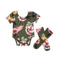 combi-short floral achat en gros de-3pcs / set bébé filles floral barboteuse mignon nouveau-né bébé manches courtes été polka dot imprimé jumpsuit nouveau-né vêtements tenue 0-18 m