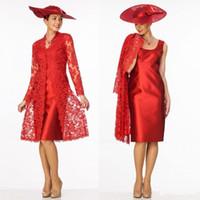 Venta Al Por Mayor De Chaqueta De Encaje Vestido Rojo