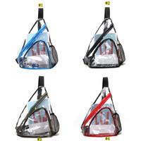 Wholesale single shoulder sling strap resale online - Clear PVC Unisex Chest Pack Hit Color Single Shoulder Strap Back Bag Crossbody Bags Sling Shoulder Bag MMA2481