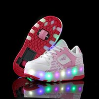 Wholesale sport wheels roller shoes for sale - Group buy Kids Shoes Children Led Heelies Sports Sneakers with Double TWO Wheel Boy Roller Skate Casual Shoe with Roller Zapatillas SH190916