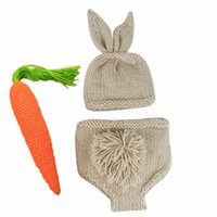 Wholesale photo prop baby boy clothing for sale - Group buy Rabbit Baby Caps Shorts Carrot Set Newborn Baby Clothes Girls Boys Crochet Knit Costume Photo Photography Prop Accessories