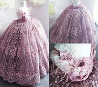 ingrosso i vestiti dalla ragazza del fiore della piuma viola-Purple Flower Girl Dresses For Weddings 3D Appliqued floreali Little Girls Pageant Dress Feather prima abiti da comunione