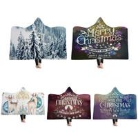 fleece wirft großhandel-Frohe Weihnachten mit Kapuze Decke Fleece tragbare Decken Kinder Erwachsene Weihnachtsgeschenk warme Mantel Capes Windeln GGA2589