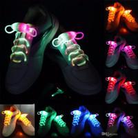 zapatos de noche de fiesta al por mayor-20pcs (10 pares) Impermeabilice Light Up LED Cordones de la manera Disco de destello del partido que brilla intensamente Deportes de la noche Cordones de los cordones Cadenas Multicolores Luminoso