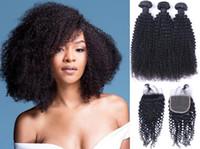 extensões de cabelo kinky curls venda por atacado-Brasileiro 3 Pacotes Kinky Curl com Fechamento Médio Livre 3 Parte Trama Do Cabelo Humano Extensões Dyeable Tecer Cabelo Humano