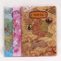 Wholesale travel accessories passport for sale - Group buy PVC World Map Flat Print Passport Cover Leather Travel Ticket Pouch Packages Passport Holder Travel Accessories
