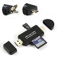 venta de tarjetas mmc al por mayor-3 en 1 Micro USB 2.0 / Micro USB / OTG TF Lector de tarjetas MMC para teléfono OTG para Mac Paquete al por menor Venta caliente de alta calidad REGALO