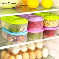 Wholesale freezer boxes food storage for sale - Group buy 2 divided plastic storage Box Fridge Freezer Space Saver Organization Storage Rack Shelf Kitchen cm Durable