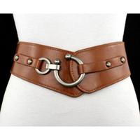 ingrosso donne larghe di colore marrone-Nuova cintura Cintura elastica da donna Cinture in pelle PU elastico largo Ragazza Ceinture Cinture da donna nero marrone rosso