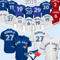 camisetas de beisbol toronto al por mayor-27 Vladimir Guerrero Jr Toronto Blue Jays jerseys de béisbol 2 Troy 29 Joe Carter 12 Roberto Alomar 6 Marcus Stroman Jersey 2019 nueva