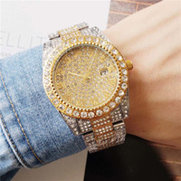 diamante lleno de cuarzo al por mayor-40mm Just Silver / Gold / Black / Rose Gold Full Diamonds Estuche para relojes para hombres Ladies Bezel Date Quartz Watch LLS