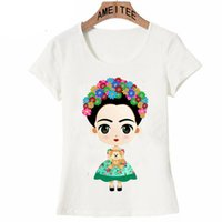 ingrosso nuove top di design per le ragazze-Moda-carismatica Frida Kahlo Cute Cartoon Art T Shirt Estate Cute Donna T Shirt Nuovo design Top Girl T-Shirt Ladies Casual Tees